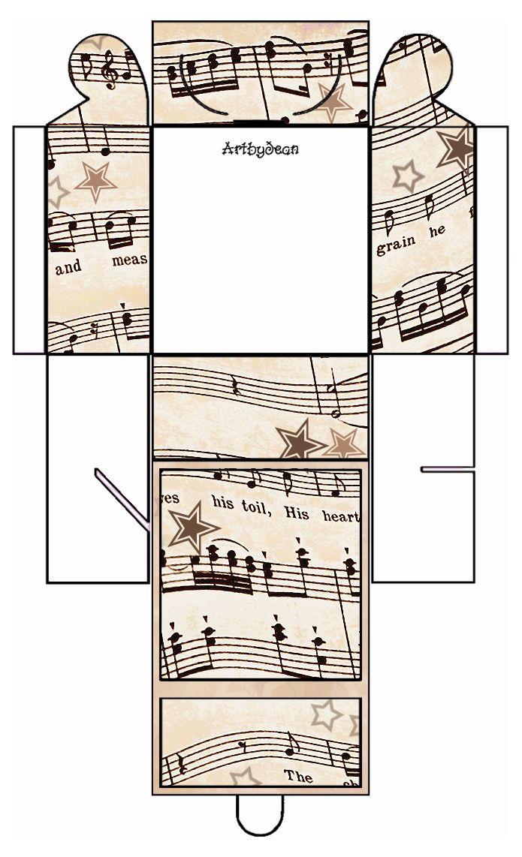 ArtbyJean - Vintage Sheet Music: Set 003 - Vintage Sheet Music Free Clipart Biege Tan - Printable Gift Boxes