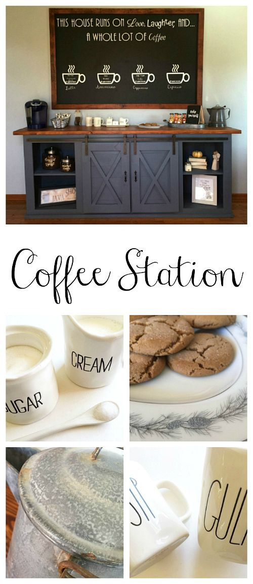 This farmhouse coffee station is amazing! So many awesome ideas.