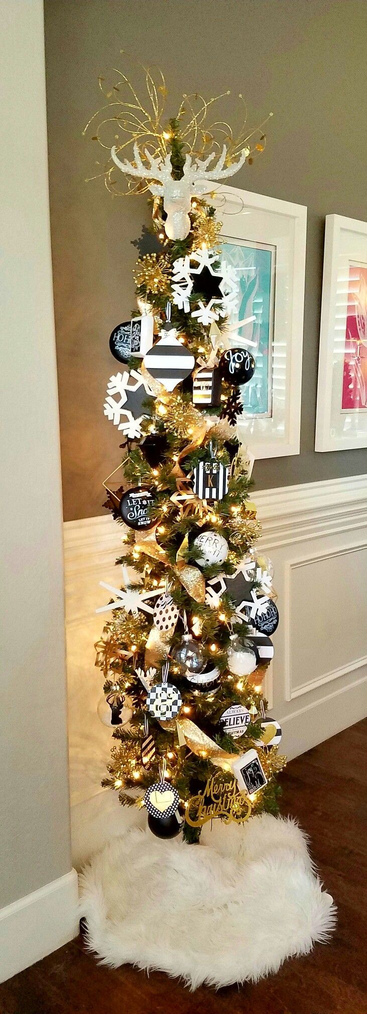 Black Christmas Tree Decorating Themes - Black white and gold pencil christmas tree kate spade inspired