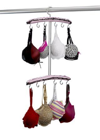Amazon.com - Bra Organizer, Bra Hanger, Bra Storage, Bra Drying Rack-Pretty Pink, Bra Tree.  This gives me an idea for a DIY project.