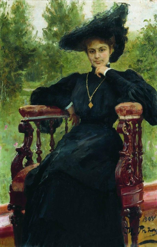 Portrait of Actress Maria Fyodorovna Andreyeva by Ilya Repin, 1905 Russia.