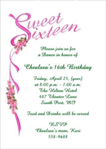 Sweet 16 Party Invitations And Birthday Invitations Stationery At