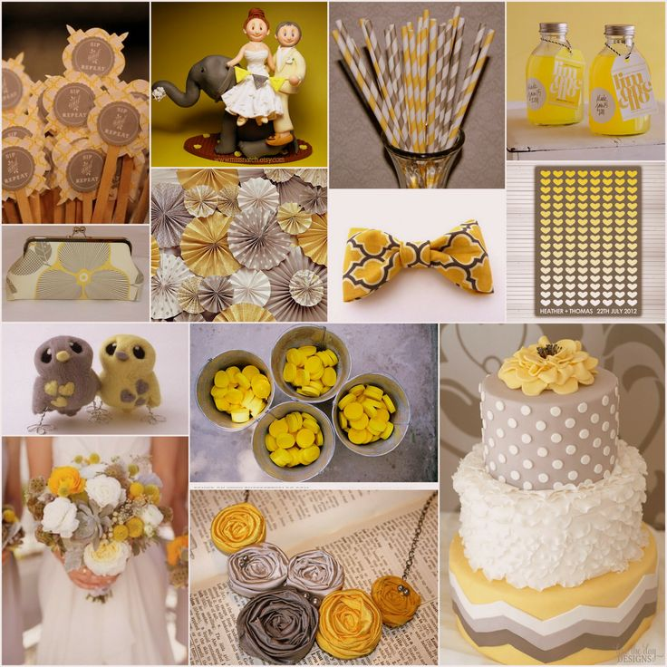 Yellow and Grey Wedding Theme - A delightful mix of yellow & grey inspiration for your wedding decor, bridal looks and cakes!
