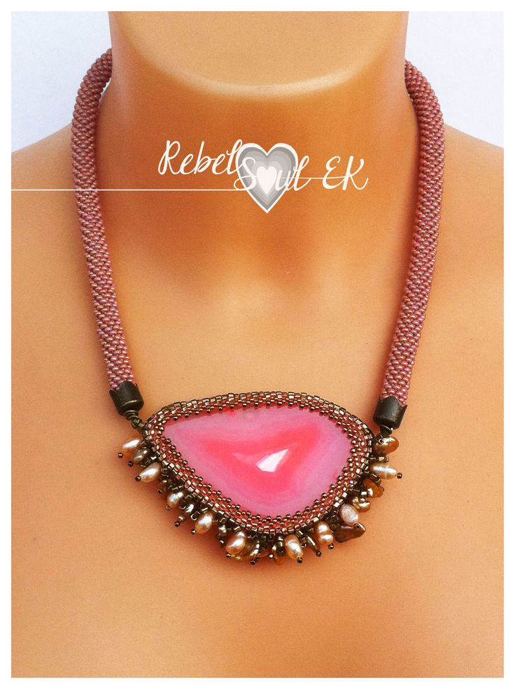 RebelSoulEK necklace beaded rope barbie pink agate large stone pearls beadwork summer jewelry for tanned body