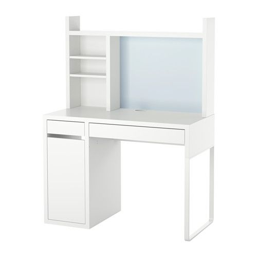 MICKE Computer work station, white white 41 3/8x19 5/8 - now have this in my room but flipped assembly - and there's a bonus plug organizer for a surge protector, etc.