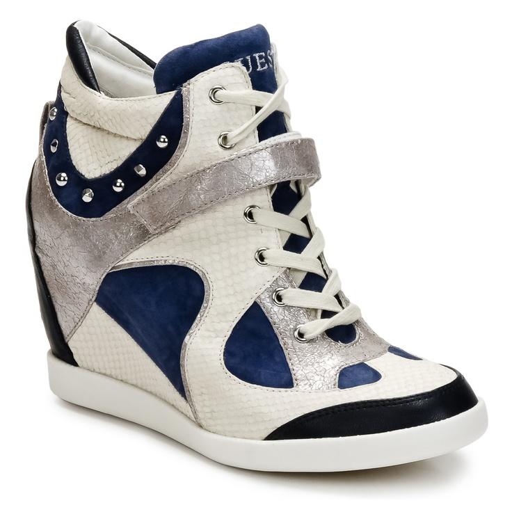 Sneaker High Guess HUXLEY Creme / Blau - Kostenloser Versand ! - Schuhe Damen 189,00 €