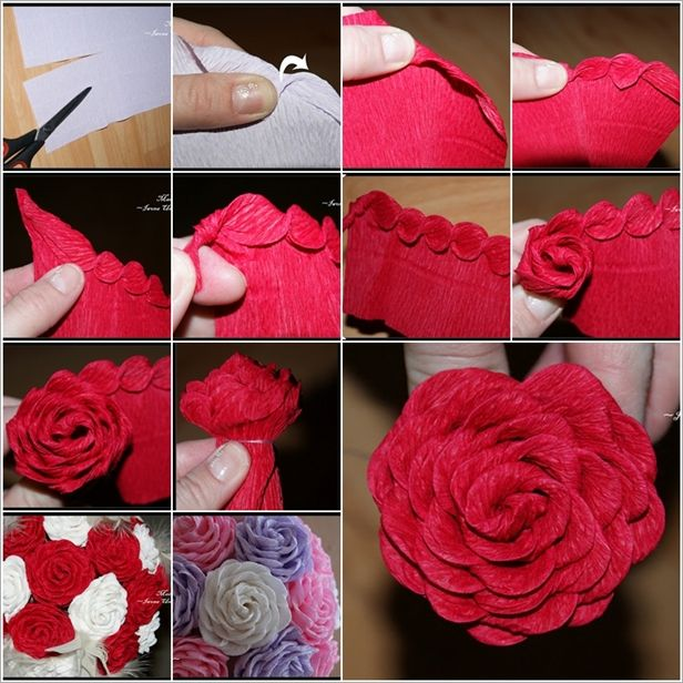 Try These Distinctive And Creative Crepe Paper Roses - http://www.decoratingo.com/try-these-distinctive-and-creative-crepe-paper-roses/ #HomeDesigning