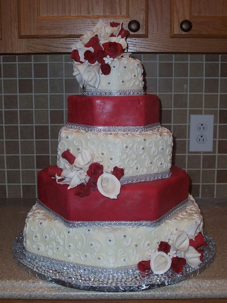 wedding cakes los angeles prices%0A Red  White  And Blingy Hexagon Wedding Cake Red and white fondant  The  piped swirls are buttercream with silver dragees
