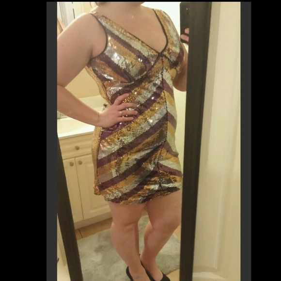Chevron stripe sequin dress Great dress for a night out at a club or bar. Reposhing because it was a little too short on me, I'm 5'11 size 16/18 for a reference. Dresses Mini