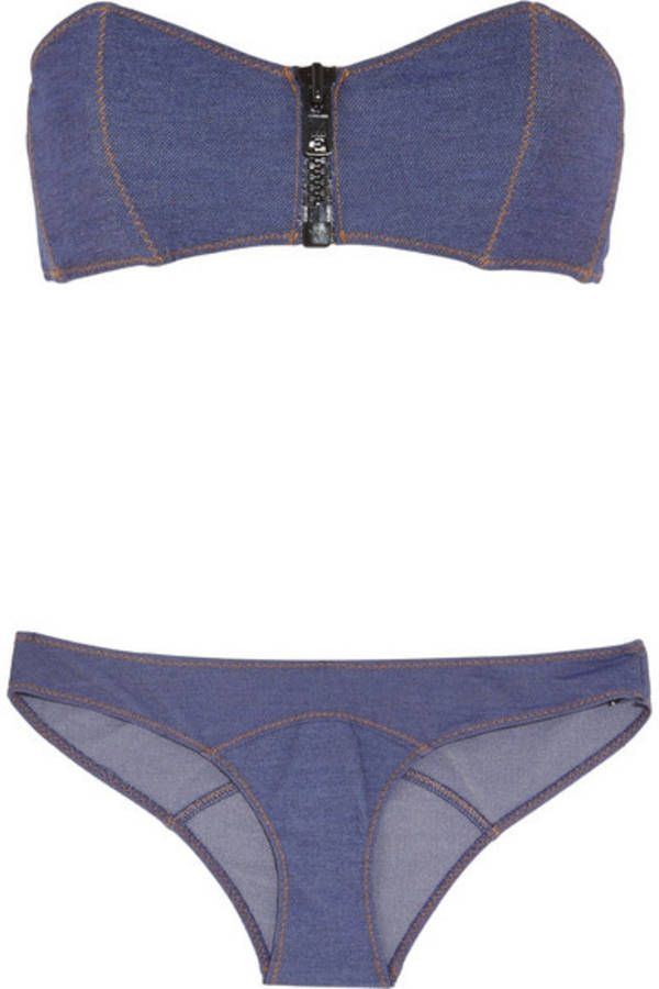 Maillot de bain 2 pièces facçon jean et fermeture éclair Lisa Marie Fernandez