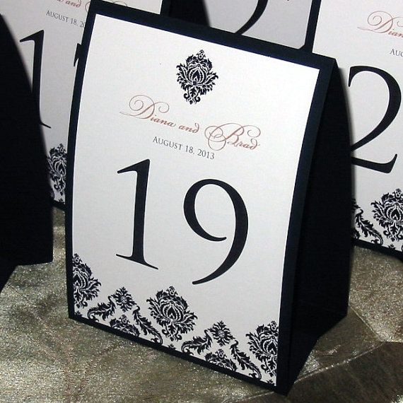 Classic Black and White Damask will add a touch of elegance to your reception tables! & 21 best table tents images on Pinterest | Table tents Wedding ...