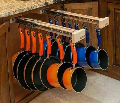 Have these pullout pegs for  your pots and pans! great idea depending on how the p & p's are hung.    example - if u've got to remove the front 1's to get to the back 1's and so on. but still a great starting point. :)