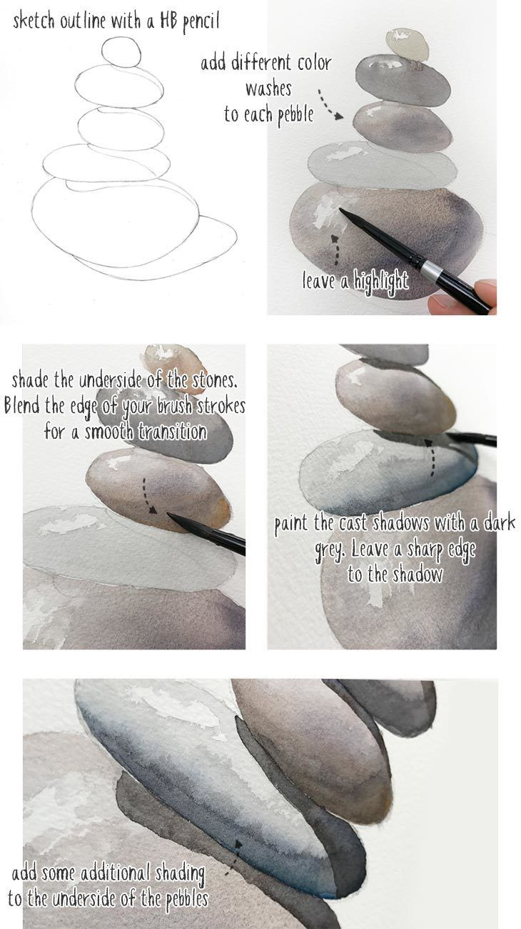 How to #watercolor a stack of pebbles.  #easywatercolor #watercolortutorial #wat…