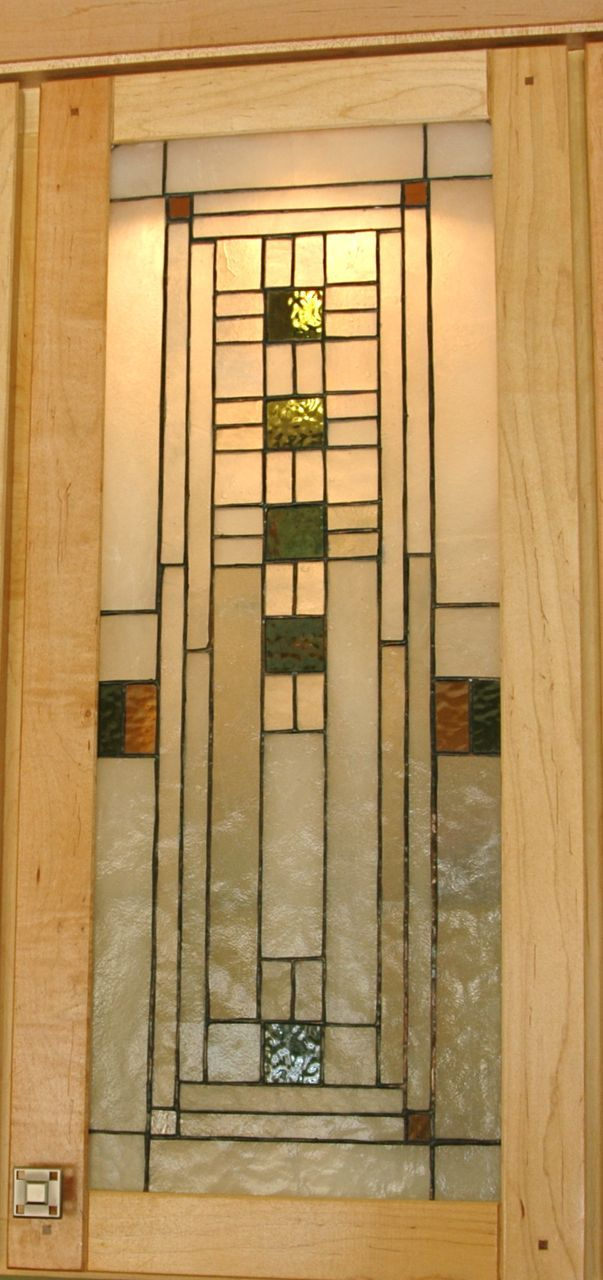 humm FLW cabinet doors on library shelves http://juicy-bits.typepad   Craftsman DoorCraftsman KitchenCraftsman StyleStained Glass ...
