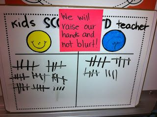 Love this idea! Goal in the middle that you are working on -beginning of the year procedures like hand raising!   http://first-grade-garden.blogspot.com