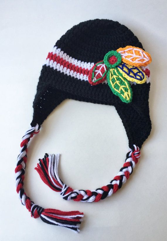 Blackhawks Hat Crochet Hat Blackhawks by TwoPeasInAPodCo
