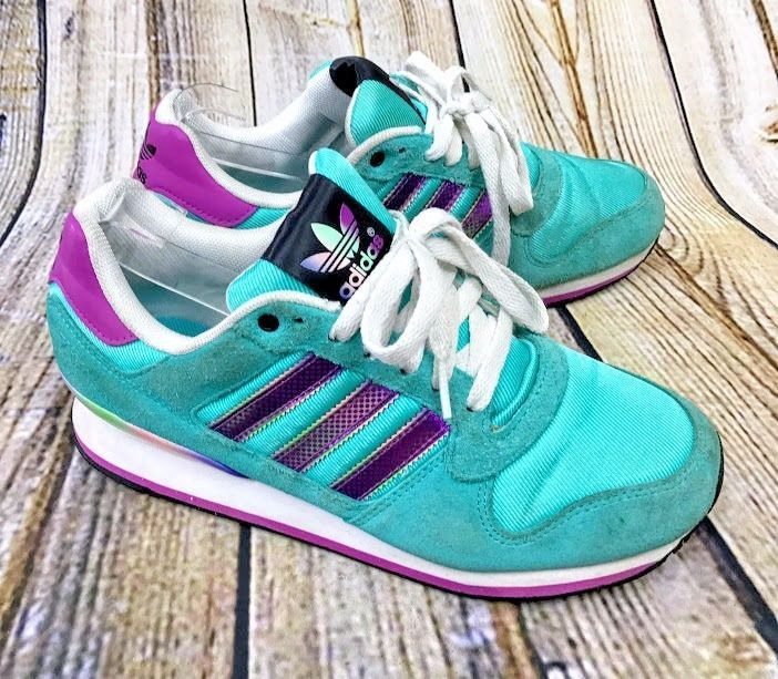 Adidas ZXZ Womens Sz 8.5 Turquoise Rainbow Retro Sneaker Tennis Shoes Athletic #adidas #Casual