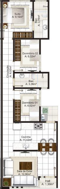 Modelos De Casas De 6 De Frente Y 12 De Fondo | Planos de Casas