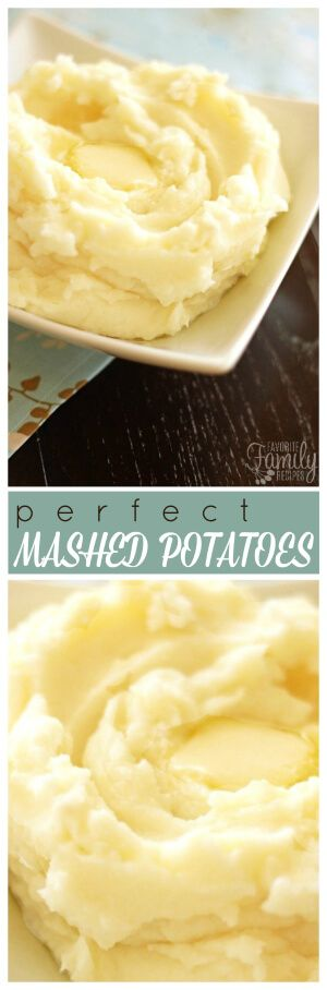 These mashed potatoes truly are perfect. They are light and fluffy and buttery, and the perfect side dish for turkey and gravy or roasted beef or pork. via @favfamilyrecipz
