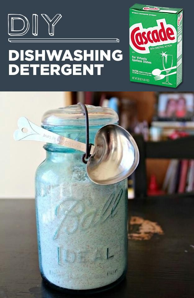 1. DIY Dishwashing Detergent 1 cup borax, 1 cup washing soda (or baking soda will work, as well), 1/2 cup citric acid, and 1/2 cup of kosher salt as a scrubbing agent. Use vinegar as your rinsing agent.