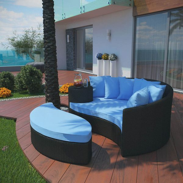Modway Taiji Outdoor Wicker Patio Daybed with Ottoman and Cushions