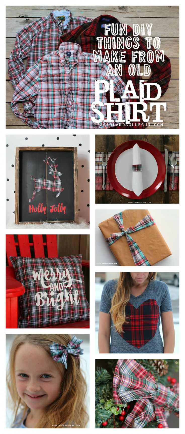 Hurry and go buy all the plaid shirts you can find at the thrift store to rereat these  fun diy things to make from an old plaid shirt--a girl and a glue gun