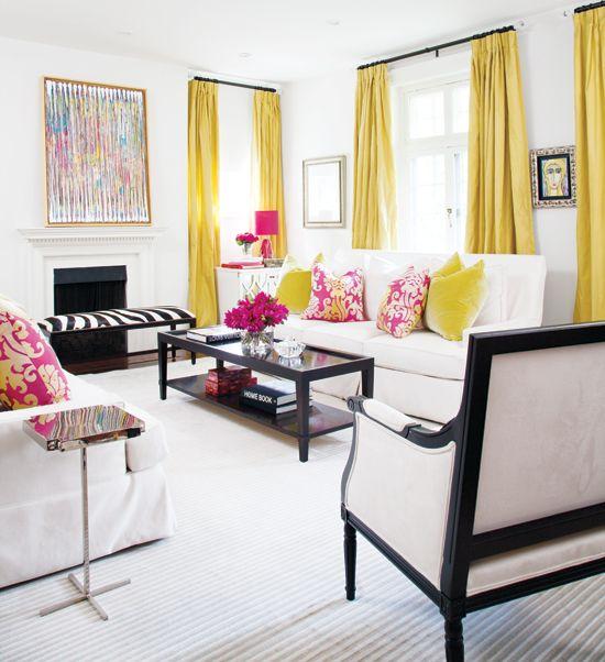 pink + yellow, black, white