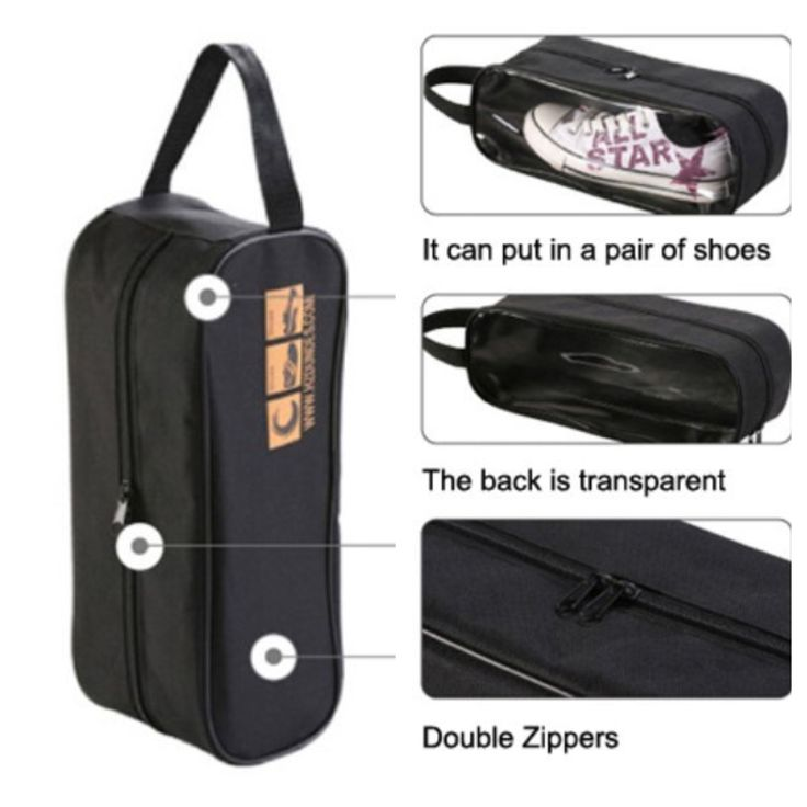 BLACK clear view shoe bag with double zip (33cm x 13cm x 11cm) @ AUD$8.00 + postage or local pick up available.