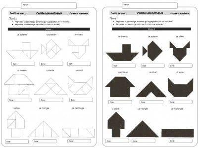 Grandeurs et formes – Puzzles géométriques « Le méli-mélo » - Cycle 1 ~ Orphéecoleavant le travail sur le tangram ou pour les MS