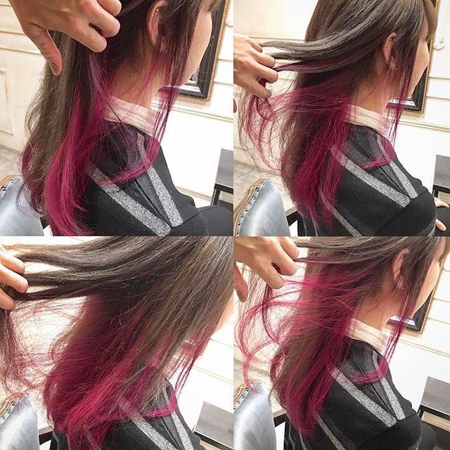 WEBSTA @ 6aya9 - ✴︎グレーベースの髪に濃いめのピンクを入れた、デザイカラー✴︎明るめのベースにブリーチ1回上は透明感あるグレーカラー 下はマニックパニックのfuschiashock!#ブリーチ#グレーカラー#イルミナカラー#マニックパニック#フューシャショック#bricolage#6aya9#高槻#美容室
