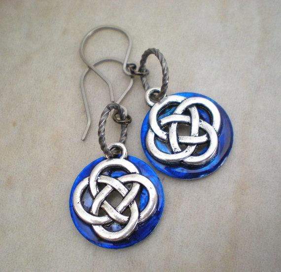Celtic Earrings Blue  Celtic Knot Jewelry  by MaddDoggofTomorrow, $18.00