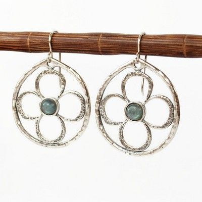 """RockHill Designs LLC -  S himmering labradorite in s mooth, round cabochons create a blue center to these sterling silver earrings. Cast in a window pane style these earrings are big enough to make a statement and light enough to wear everyday. 1 3/4"""" long.     Handcrafted   Labradorite, .925 sterling silver   Length 1 3/4""""   Spring Collection 2017   Flat rate shipping w/tracking to anywhere in the USA for $5.95"""