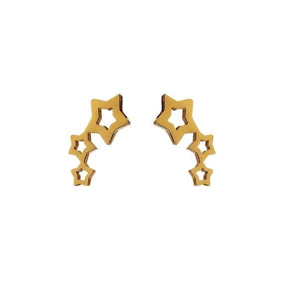 Örhängen: stärnor guldpläterat rostfritt stål (wosstore.com)