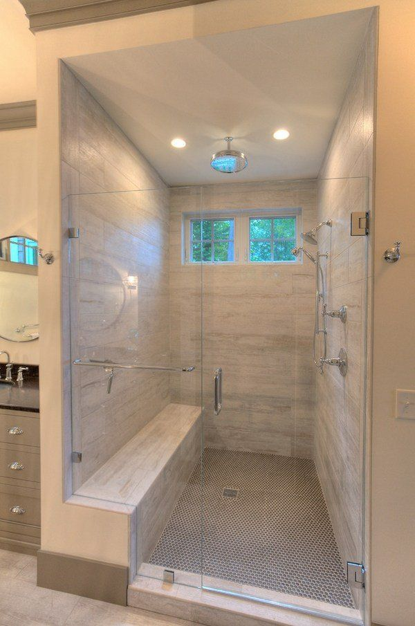 Tiled showers ideas porcelain tile shower walls wood for Master bathroom glass doors