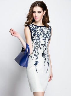 Elegant Sleeveless Print Slim Dress