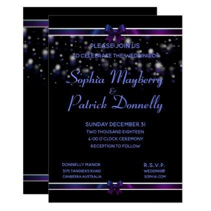 Starry Nights Purple Magic Formal Invitations - wedding invitations diy cyo special idea personalize card