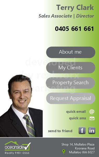 Terry Clark iCard designed and developed by Realworx Marketing Mobile Apps Australia New Zealand USA UK www.oceansiderealty.com.au
