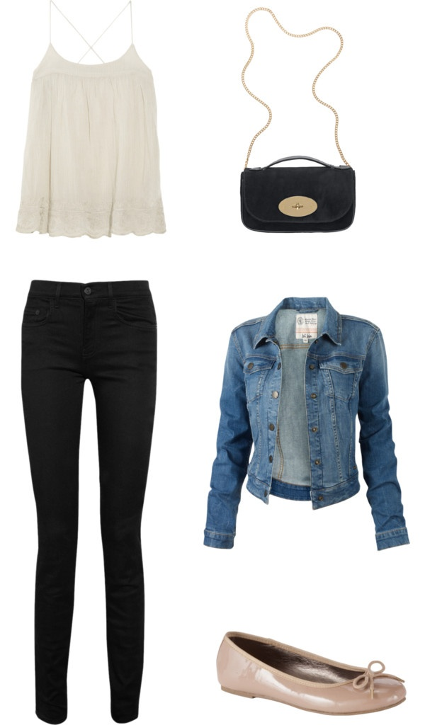 """First date outfit"" by hayleymarriott on Polyvore Change the jean jacket for a black pull over, jean jackets are a but to young for me now"