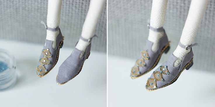 Miniature art doll shoes tutorial by Adele Po. decorating shoes