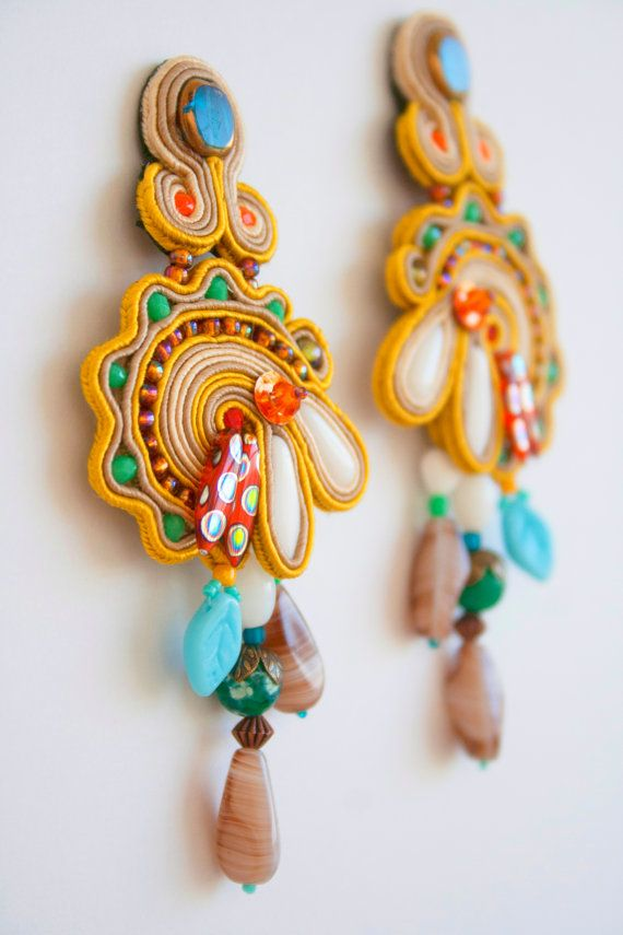 early fall soutache colorful long pendant earrings by agtesa
