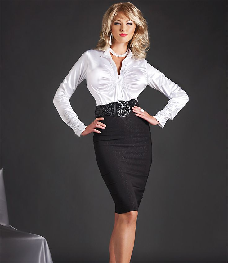 Tight Black Pencil Skirt and White Satin Blouse | Office Work ...
