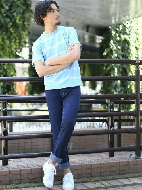 タイダイボーダーTシャツ・ブルー/MEDIUM    カットデニム 5ポケットパンツ・ネイビー/ME