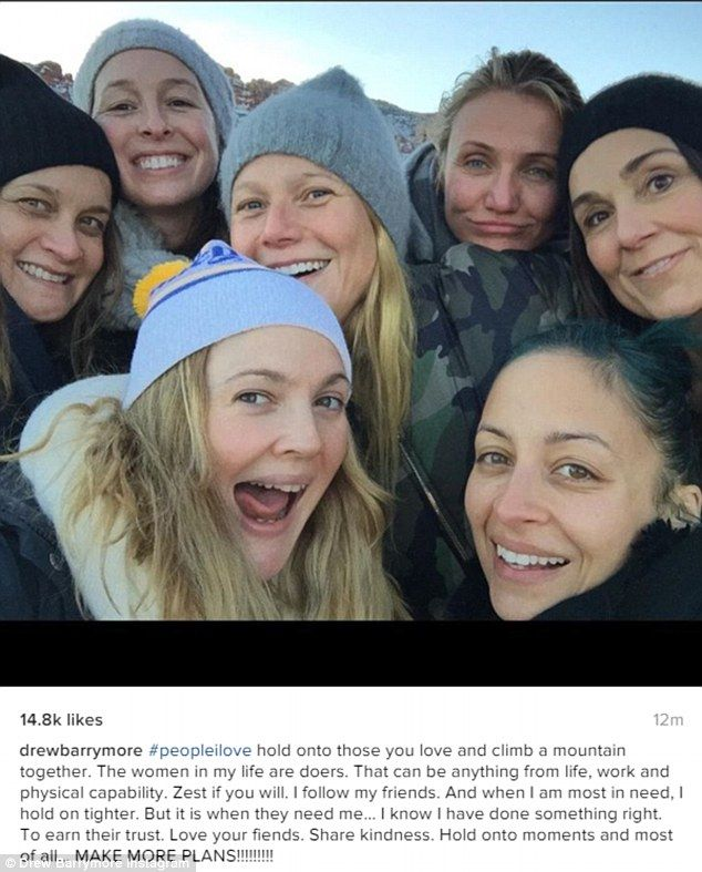 People I love: Drew Barrymore was keeping up the positive on Saturday, as she shared a snap of her hiking make-up free with her A-List pals