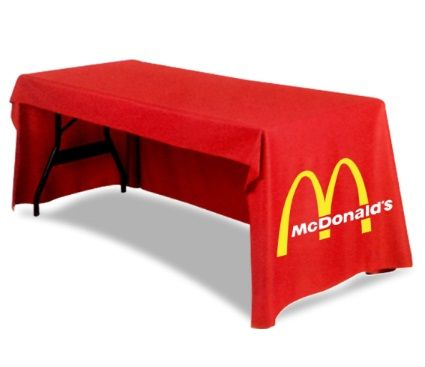 Custom printed Trade show table covers, also called table cloths, can add the ultimate touch to your trade show booth, or any extraordinary event such as a fundraiser, open house, event registration, seminars or discussions, hospitality events, or wedding reception table.