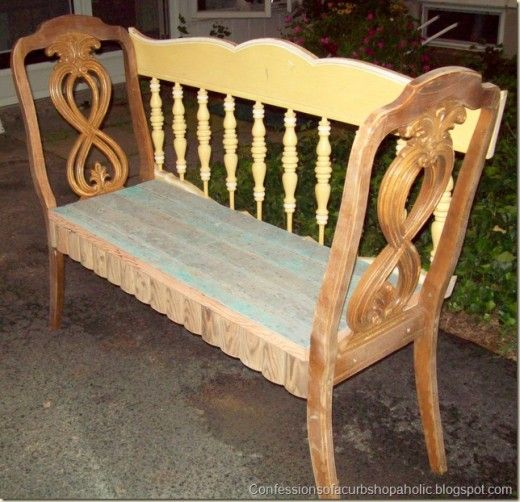 Antique Headboard Bench: Two Chairs And Headboard Upcycled Into A Bench; Upcycle