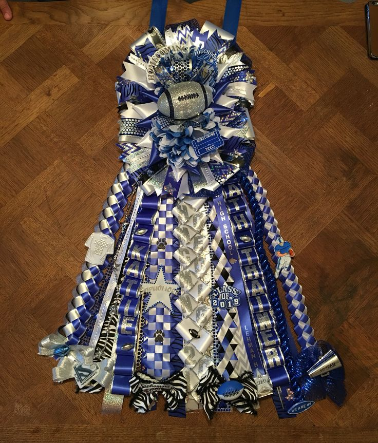 """2016 Homecoming - Lehman Lobos Deluxe Double Mum with 18"""" ribbons"""
