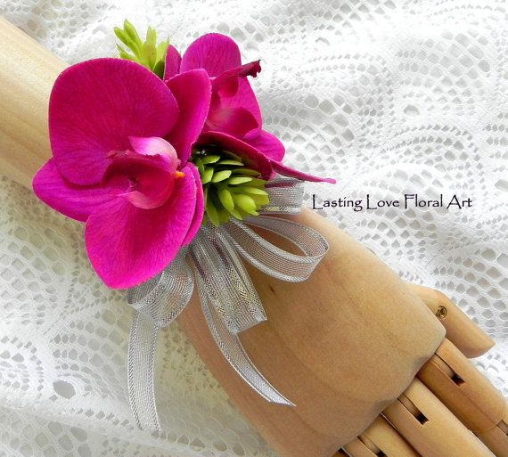 Prom Corsage and Boutonniere Fuschia by LastingLoveFloralArt
