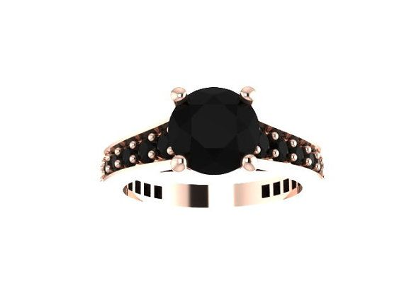 Black Diamond Engagement Ring 14K Rose Gold Engagement Ring with 7mm Round Black Diamond Center - V1081