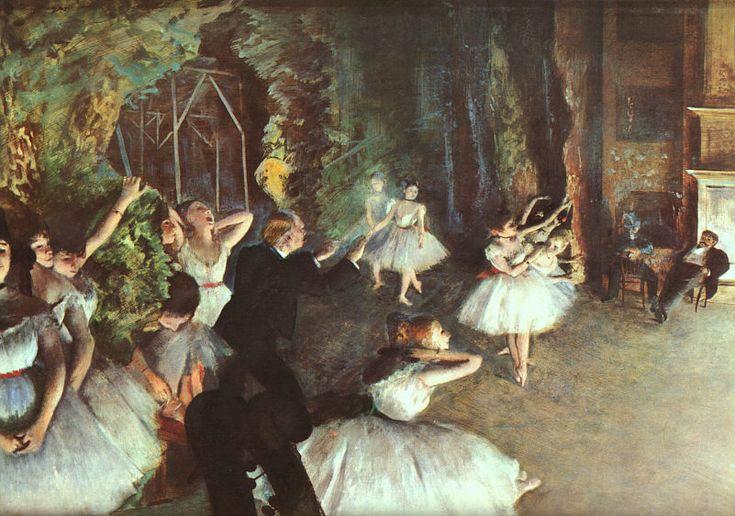 "Rehearsal on the Stage, Edgar Degas    1878-79  21.20"" x 28.80""     Metropolitan Museum of Art, New York"