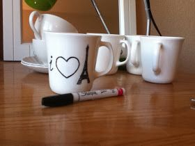 Dishwasher-Safe Sharpie Mugs.  Need to use oil based sharpie markers.  Amazon has them for $12.  Hobby lobby has them for $20, so use a 40% coupon!